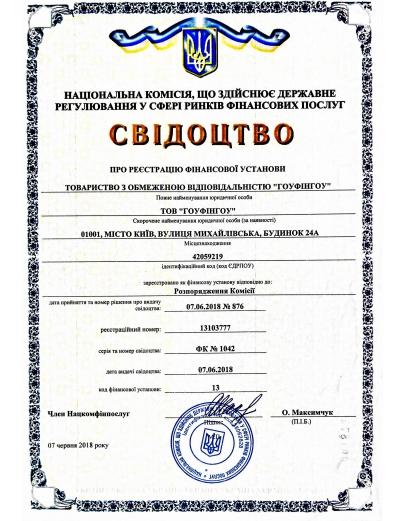 Свидетельство регистрации Гоуфингоу